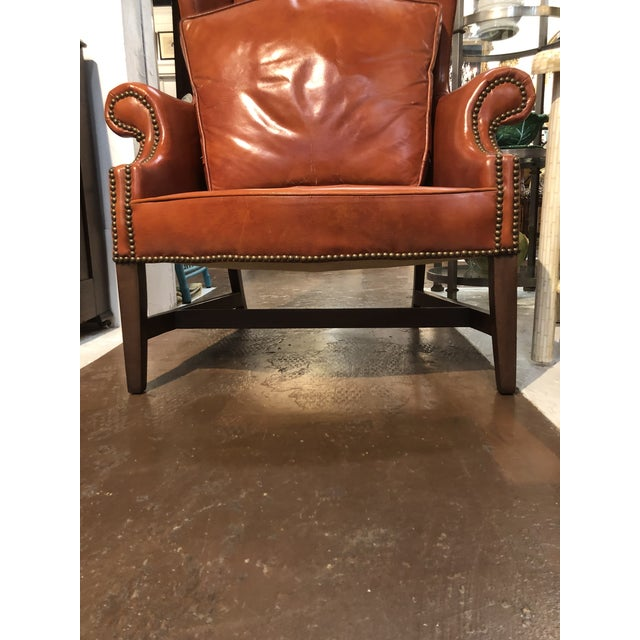 Vintage Georgian Style Orange Leather Arm Chair With Brass Tacks & Stretcher For Sale - Image 11 of 13