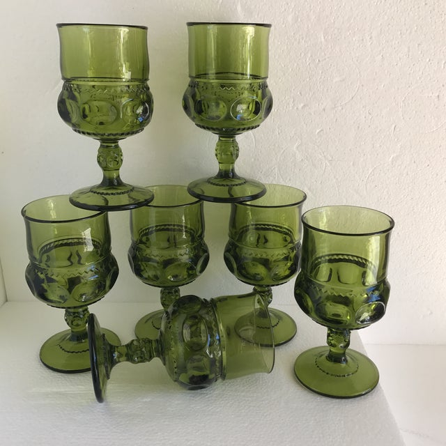 Fantastic set of seven texted green goblets, stemmed wine or water glasses. Solid and beautiful in a deep warm green with...