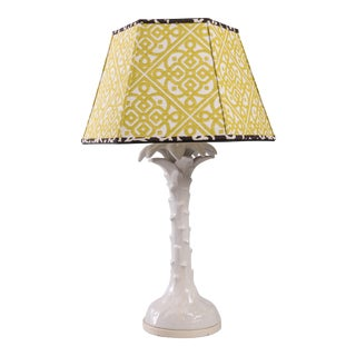 1960s Ceramic Palm Leaf Table Lamp For Sale