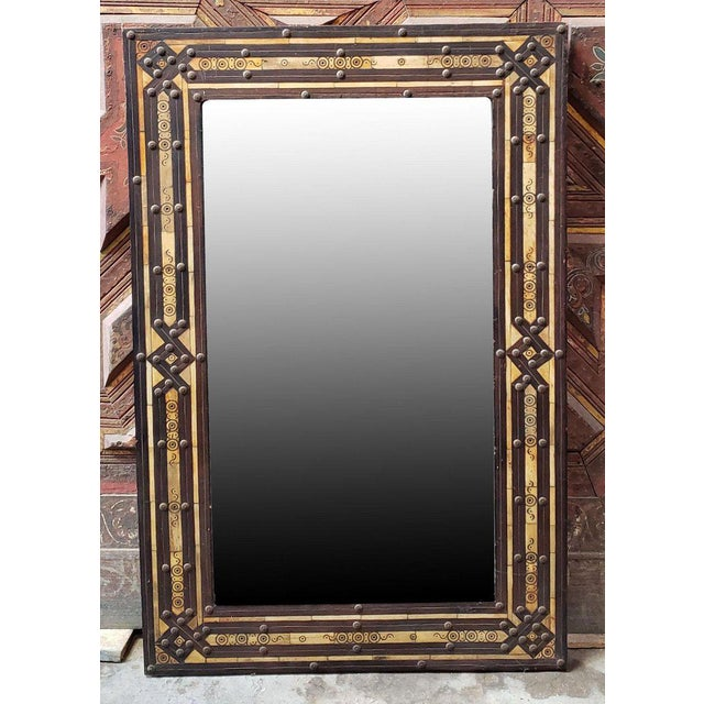 Moroccan Rectangular Metal Inlay Mirror For Sale In Orlando - Image 6 of 7