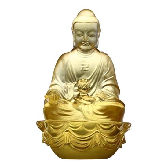 "Crystal ""Present Mindfulness"" Amitabha Buddha, Guardians of Peace, Gold For Sale"