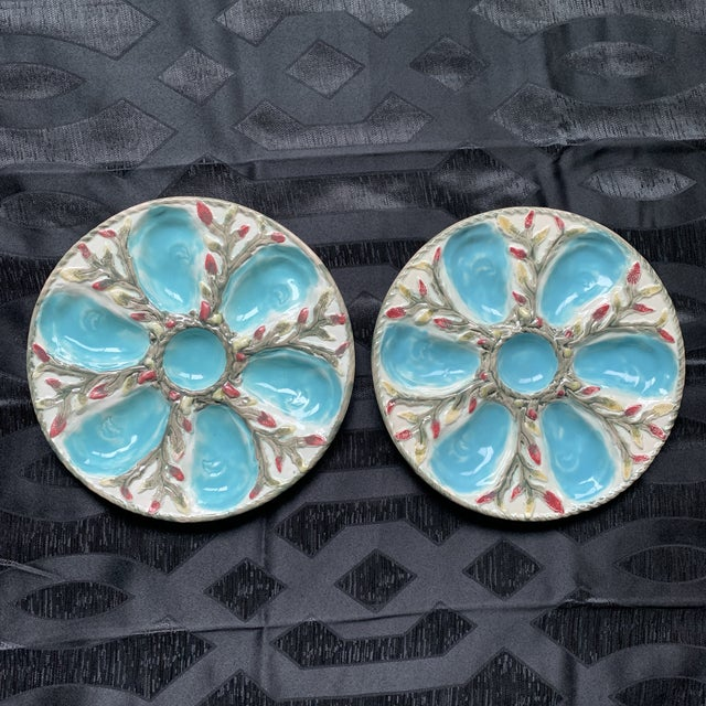 Late 19th Century S. Fielding English Majolica Oyster Plates - Pair For Sale - Image 9 of 9