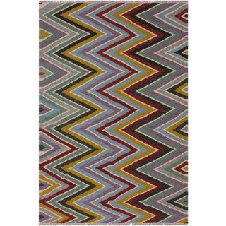 Contemporary Salgado Hand-Woven Kilim Wool Rug - 4′10″ × 6′9″ For Sale