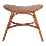 Image of Vintage Brown Bamboo Stool For Sale