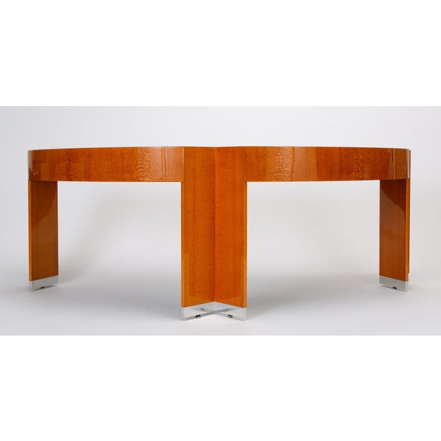"""Pace Collection Custom Lacewood """"Mezzaluna"""" Desk by Pace Collection For Sale - Image 4 of 13"""