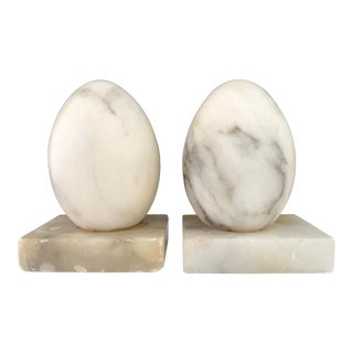 Mid-Century Modern Italian Carrara Marble Egg-Shaped Bookends - a Pair For Sale