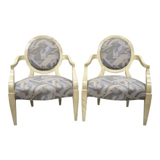 Late 20th Century Vintage John Hutton for Donghia Style Round Back Lounge Chairs- A Pair For Sale