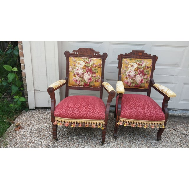 Vintage Eastlake Armchairs - A Pair - Image 2 of 11