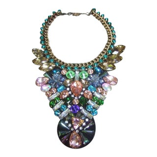 Glittering Pastel Crystal Bib Collar Necklace For Sale