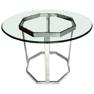 Mid-Century Modern Milo Baughman Style Round Chrome & Glass Dining Center Table For Sale