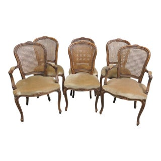 Louis XV Style Wanut Caned Dining Chairs - Set of 6 For Sale