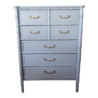 Henry Link Bali Hai Faux Bamboo Light Blue Highboy Five Drawer Dresser
