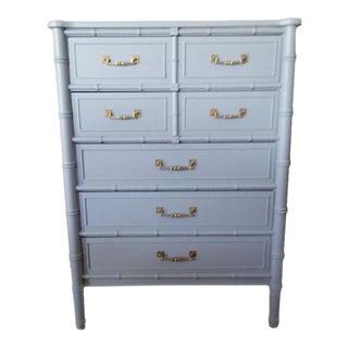 Henry Link Bali Hai Faux Bamboo Light Blue Highboy Five Drawer Dresser