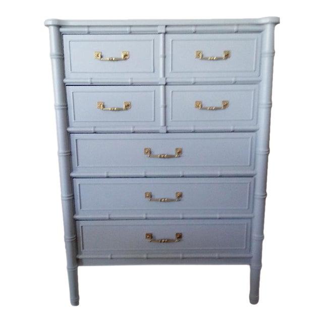 Henry Link Bali Hai Faux Bamboo Light Blue Highboy Five Drawer Dresser - Image 1 of 10