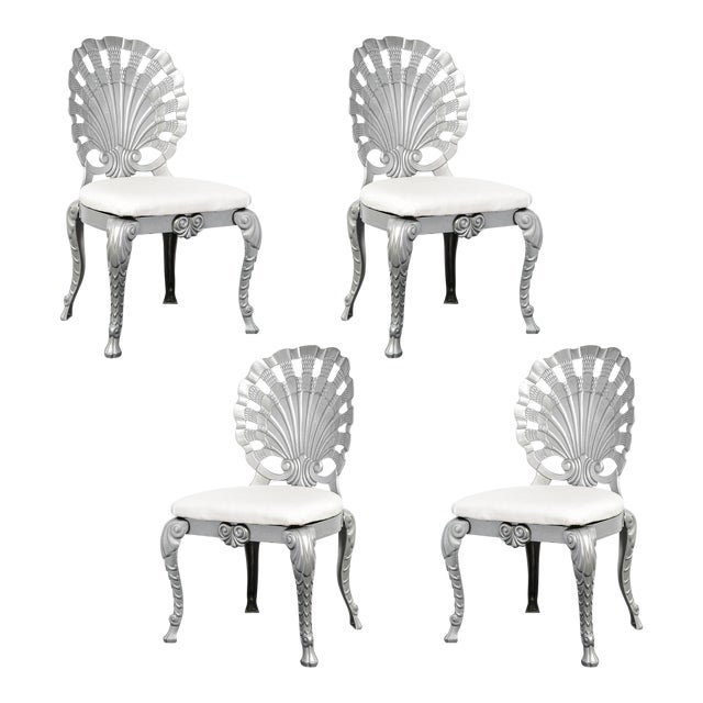 Vintage Set of 4 Grotto Aluminum Chairs For Sale