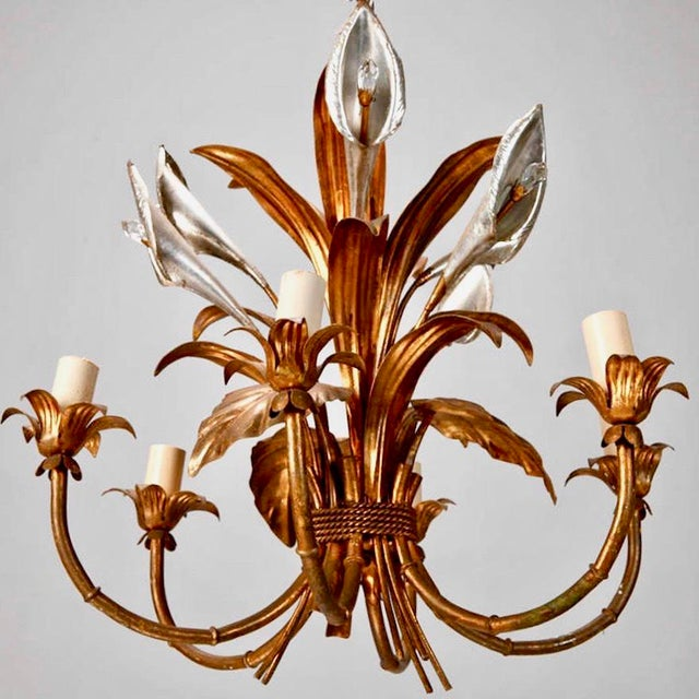 Italian Six Light Gilded Tole Chandelier With Calla Lilies and Crystals For Sale In Detroit - Image 6 of 6