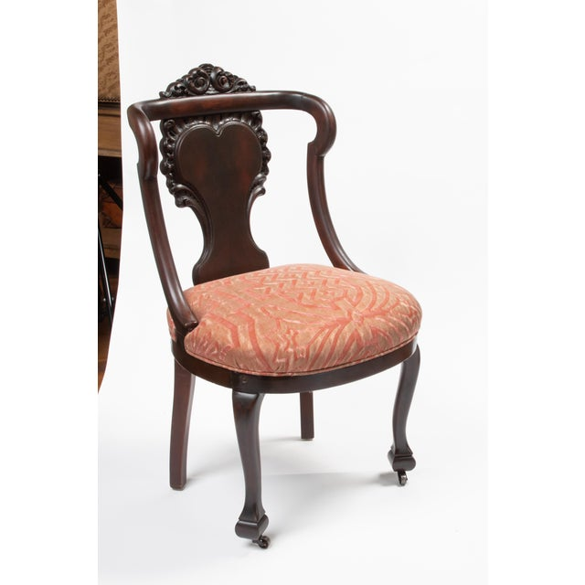 Mahogany Antique Chairs in Fortuny Fabric For Sale - Image 9 of 9