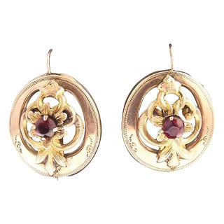 Victorian Garnet & 14k Gold Floral Earrings For Sale