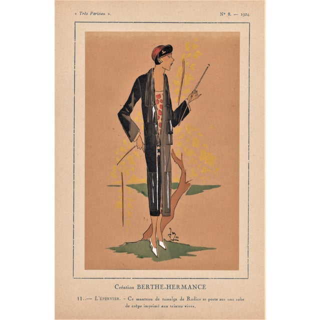 1924 Art Deco Fashion Pochoir Illustration For Sale