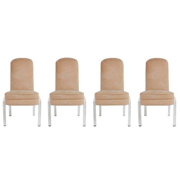 Pink Lucite and Alcantara Dining Chairs, Circa 1970 - Set of 4 For Sale - Image 8 of 8