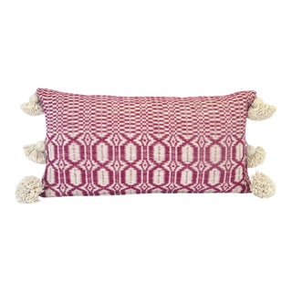 Boho Chic Ecru and Magenta Woven Pillow For Sale