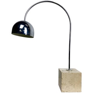 Travertine Marble and Chrome Table Lamp by Harvey Guzzini For Sale