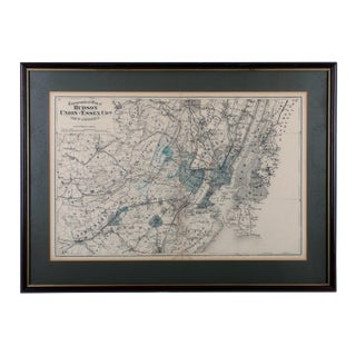1872 Map of Hudson, Union and Essex Counties, New Jersey For Sale