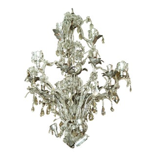 Rock Crystal and Silvered Metal Beaded Chandelier attributed to Baguès For Sale