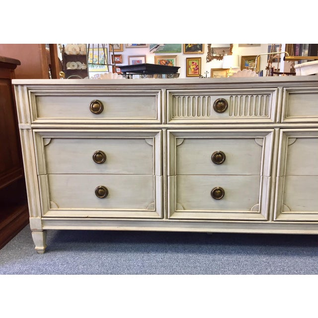 Gray Lowboy Dresser With Circular Brass Pulls For Sale - Image 4 of 10
