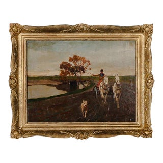 """Original """"Horse & Buggy With Dog"""" Oil on Canvas Painting For Sale"""