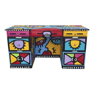 1980s Pop Art Peter Maxish One of a Kind Bold Painted Executive Desk For Sale
