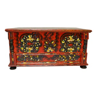 Hungarian Pine Trunk or Blanket Chest in Original Paint For Sale
