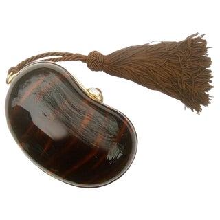 Saks Fifth Avenue Italian Tortoise Shell Lucite Tassel Evening Bag Circa 1970s For Sale