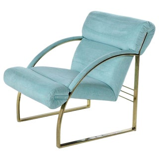 1990 Flat Bar Brass Hollywood Regency Armchair by Carson's, Teal Sea Foam For Sale