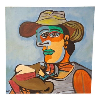 """1938 Abstract Oil Painting by Ray Martinez Rendering of Pablo Picasso's """"Sailor"""" For Sale"""