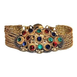 1930 Czech Jewel Toned Glass Cabochon Multi Chain Bracelet For Sale