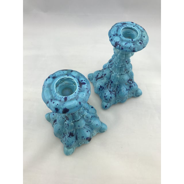1960s Mid Century Vintage Ceramic Decanter W Matching Candlesticks Set For Sale - Image 5 of 11
