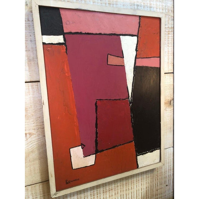 Abstract Mid-Century Oil Painting by Edwards For Sale - Image 3 of 6
