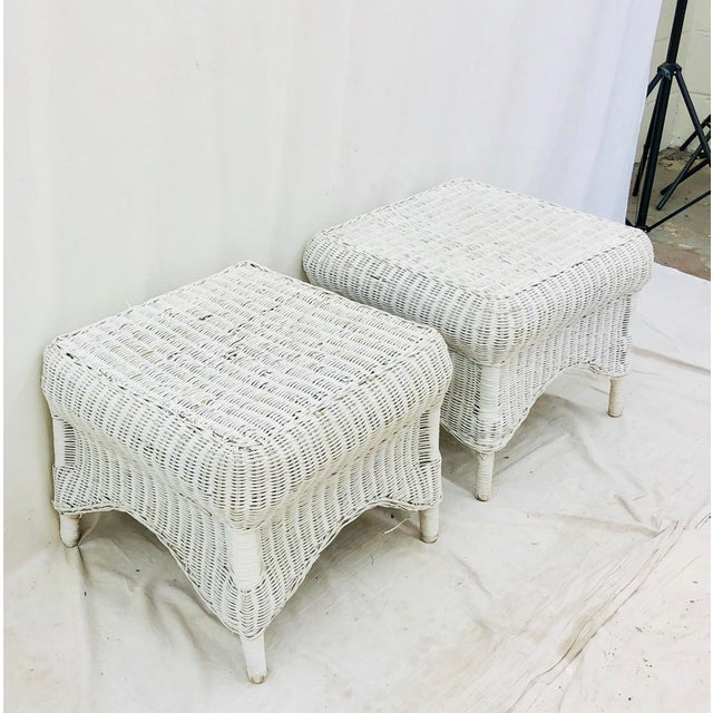 Stunning Pair Vintage Mid Century Boho Chic White Woven Wicker Ottoman Stool Benches. Fabulous size and shape, as well as...