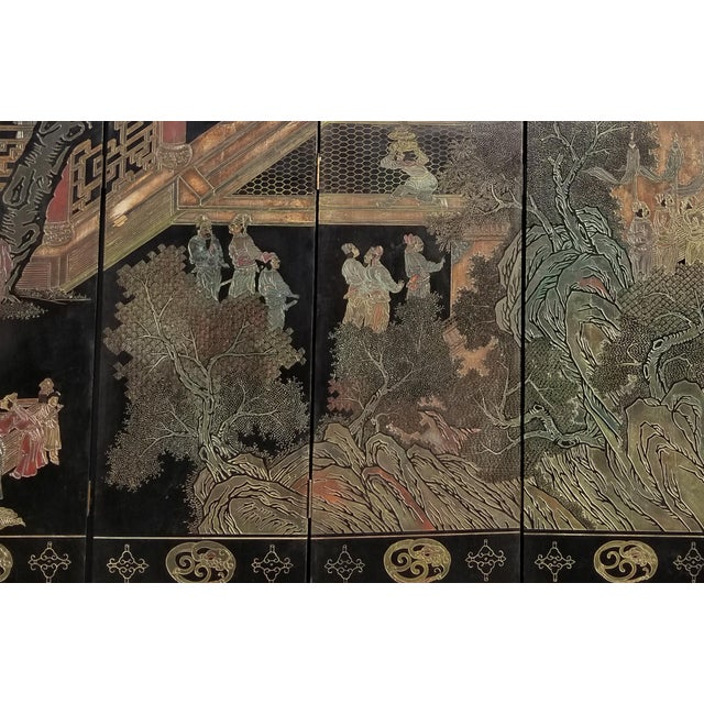 Wood 20th Century Asian Chinese Chinoiserie Black Coromandel 12 Panel Screen Oriental Asian For Sale - Image 7 of 12