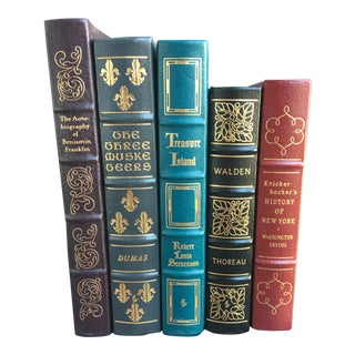1980s Vintage Leather Bound Book Collection - Set of 5 For Sale