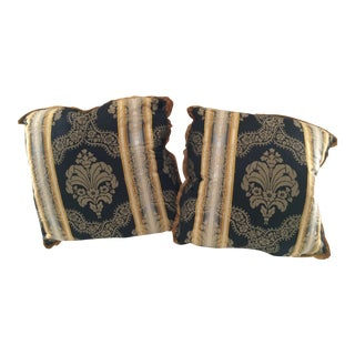 Black Gold Damask Pillows - a Pair For Sale