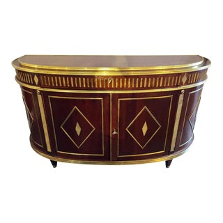 Palatial Russian Neoclassical Style Demilune Console Cabinet For Sale