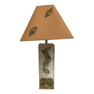 Vintage George Bullio Lucite Lamp With Paint Stamped Leaves For Sale