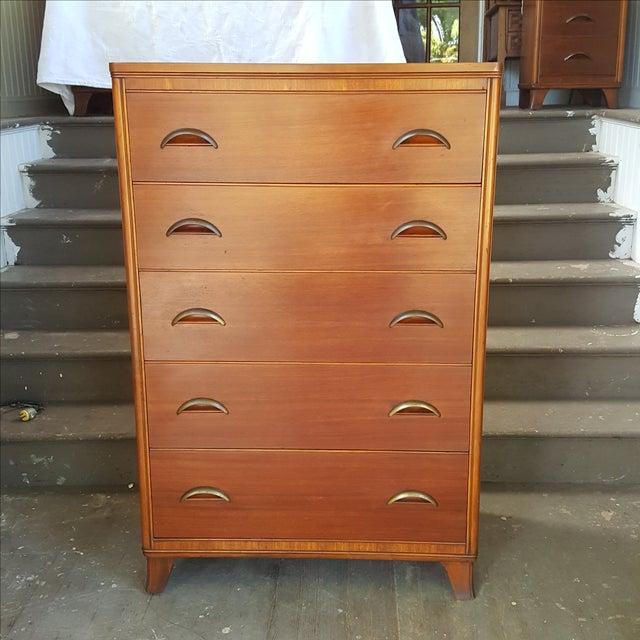 Mid-Century Transitional Antique Highboy Dresser - Image 2 of 5