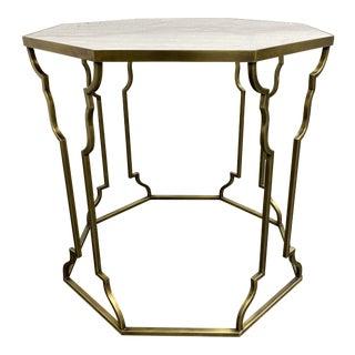 Corinthian Antiqued Brass + Quartz Side Table For Sale