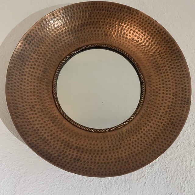 Hammered Copper Wall Mirror For Sale - Image 11 of 11
