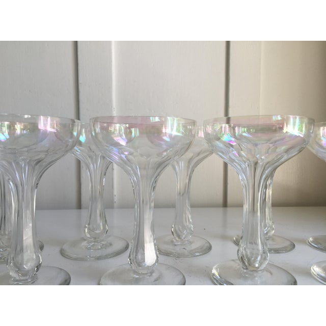 Vintage Iridescent Hollow Champagne Coupe Glasses - Set of 9 - Image 5 of 7