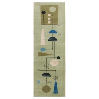 Contemporary Mid-Century Modern Style Inspired Geometric Green and Blue Wool Rug - 2′9″ × 8′2″ For Sale