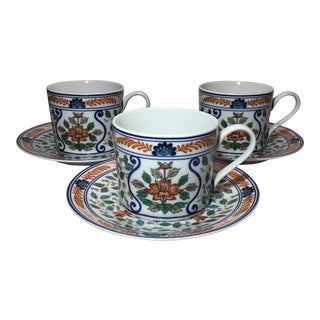 Imari Blossoms Teacups and Saucers by Georges Briard - Set of 3 For Sale